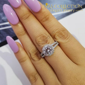 Real 925 Sterling Silver Halo Engagement Ring Simulated Diamonds Rings