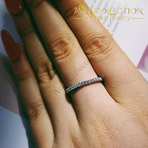 Solid 925 Sterling Silver Eternity Ring Band Wedding Bands
