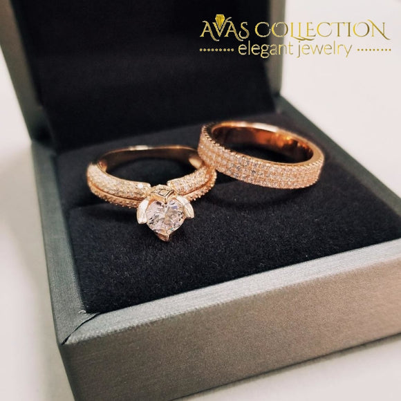 Real Solid  925 Sterling Silver/ 14k Rose Gold Wedding Ring Set  Simulated Diamonds - Avas Collection