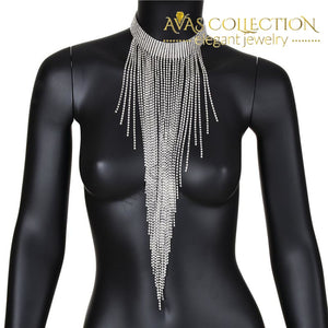 Multi Layer Tassel Rhinestone Choker Necklace in Silver - Avas Collection