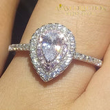 Luxury Pear Cut Promise Ring/ Anniversary Ring Wedding Bands