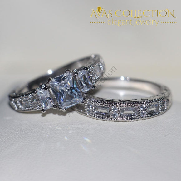 New Vintage Princess Cut 3Ct Wedding Ring Engagement Rings