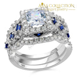 2.6 Ct Solid Silver Halo Wedding Ring Sets Princess Cut/ High Polished - Avas Collection