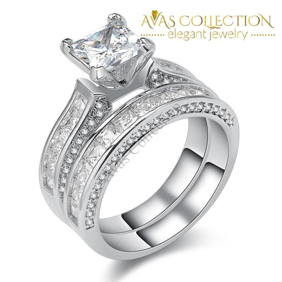 3 Ct Princess Cut Solid Silver Wedding Ring Set - Avas Collection