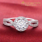 Solid 925 Sterling Silver 3 Carat Twisted Engagement Ring Rings