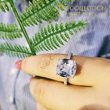 Cushion Cut Real 925 Sterling Silver Ring Luxury High Quality 18K White Gold Finish Engagement Rings