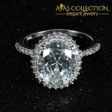 Solid 925 Sterling Silver Oval Ring Promise Solitaire Engagement Rings