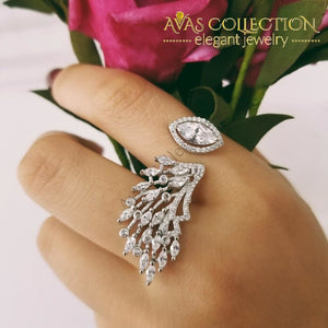 Real 925 Sterling Silver Peacock Marquise Luxury Ring Rings