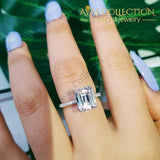 Solid 925 Sterling Silver Emerald Cut Engagement Ring Rings