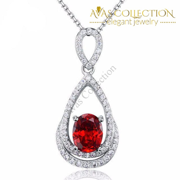 Red Oval Cut 2 Carat Necklace Pendants