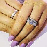 High Quality Solid 925 Sterling Silver 3Pcs In 1 Couple Wedding Ring Set Rings