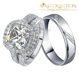Luxury Solid 925 Sterling Silver 3Pcs In 1 Couple Wedding Ring Set/ Simulated Diamonds Rings