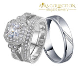 Luxury 925 Sterling Silver 3Pcs In 1 Couple Wedding Ring Set/ Simulated Diamonds Rings