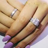 Luxury Set Solid 925 Sterling Silver 3Pcs In 1 Couple Wedding Ring Rings