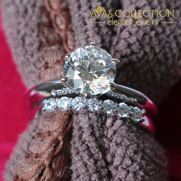 Romantic 2.7Ct Synthetic Diamonds Wedding Ring set/ White Gold Color - Avas Collection