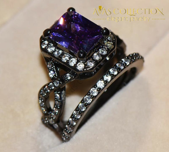 Purple Crossed Ring Sets Black Gold Filled Rings