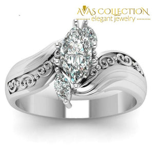 Marquise Cut Stone 18k White Gold Filled - Avas Collection