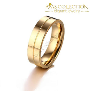 Shuangr Classic Design Wedding Rings For Women Men Gold Color Titanium Steel Couple Ring High