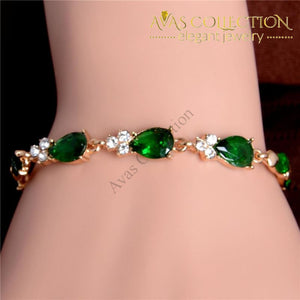Shuangr Hot Gold Color Beautiful Waterdrop Austrian Crystal Bracelet For Women Wedding Party Jewelry