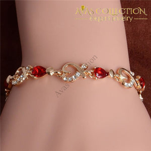 Shuangr New 5 Colors Beautiful Bracelet For Women Colorful Austrian Crystal Fashion Heart Chain