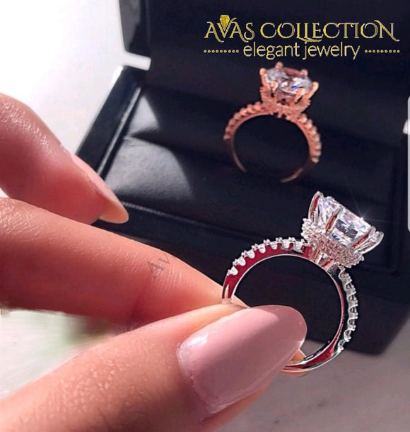 Solitaire Luxury Ring For Women Rose Gold/ White Gold Filled Rings