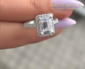 Emerald Cut Ring 10Kt White Gold Filled Rings