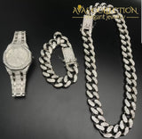 14K White Gold Filled Iced Out Techno Pave Men Watch Cuban Chain & Bracelet Set (All Of Them):