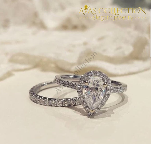 2Ct Pear Cut Wedding Set - Avas Collection
