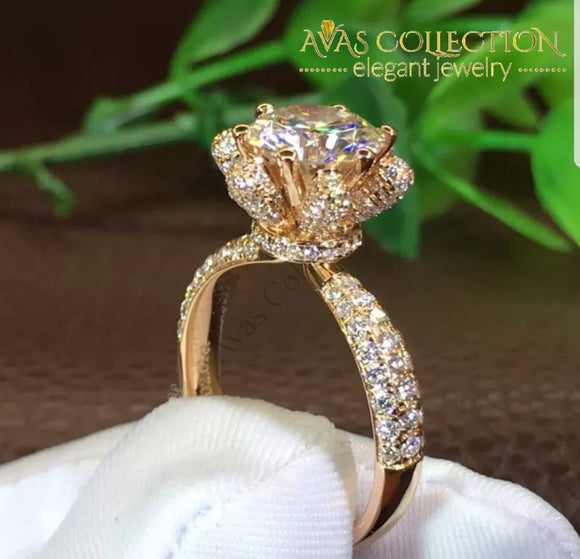 3CT Flower Engagement  Ring - Avas Collection