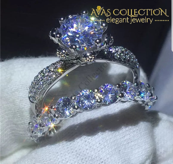 Flower Ring Set Engagement Rings