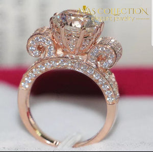 Round Cut 3 Carat  Engagement  Ring Rose Gold Filled - Avas Collection