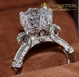 3 Carat Engagement  Ring 10k White Gold Filled - Avas Collection