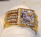 3-in-1 ring Princess Yellow gold filled  Wedding Band Ring - Avas Collection