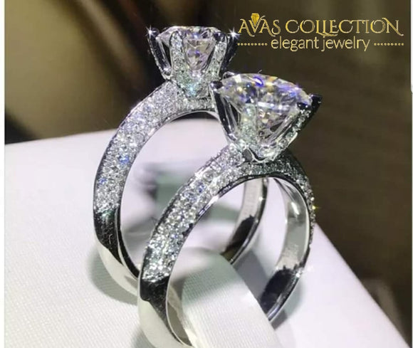 New Solitaire Luxury Round Shape Double Row Ring Rings