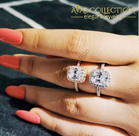 Rose Gold/ Silver Engagement Ring/ Promise Rings - Avas Collection