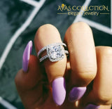 5 Ct Cushion Cut Engagement Ring Set Rings