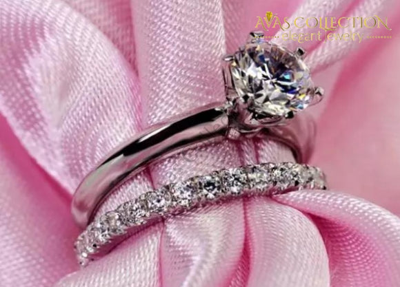 Luxury Quality 2 Carat Sona Diamonds Bridal Set Engagement Rings