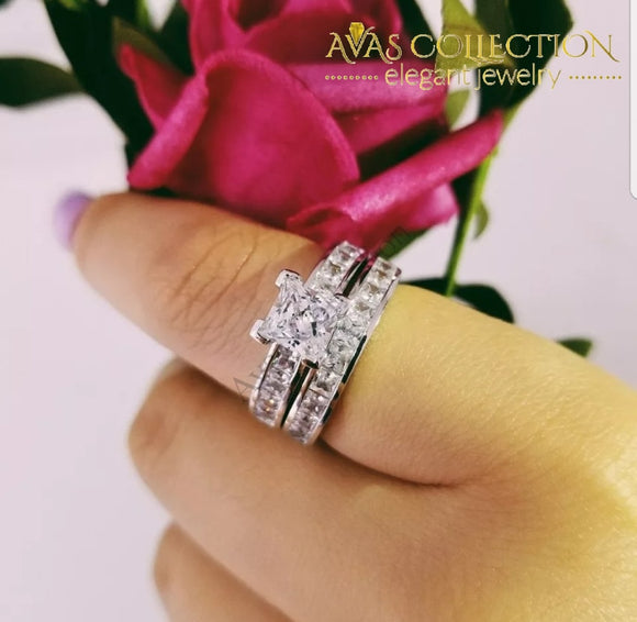 2-Pcs 1 Ct Princess Cut Ring Rings