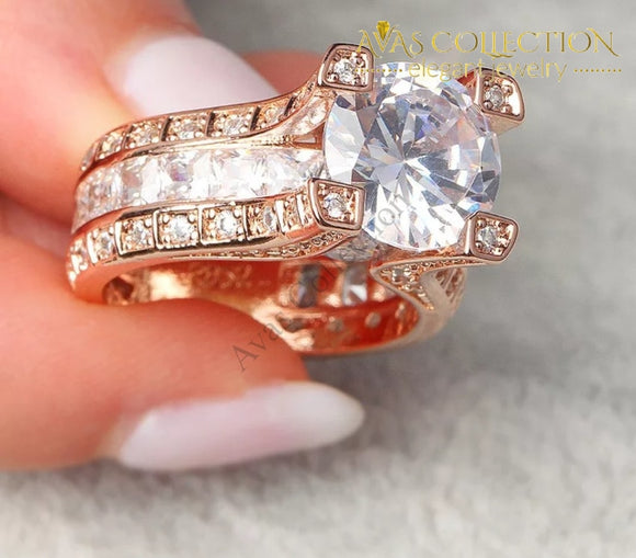 Stunning Rose Gold Filled 3Ct Engagement Ring Rings