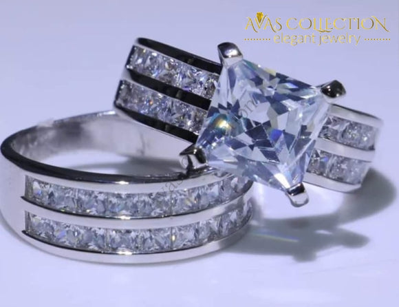 3Ct Lelia Wedding Set Princess Cut Engagement Rings