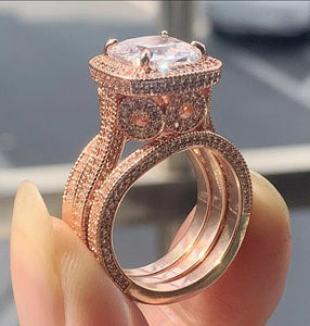 3 Pcs Wedding Ring Set Rose Gold Filled