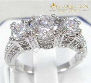 Three Stone 10kt White Gold Filled Round Cut - Avas Collection