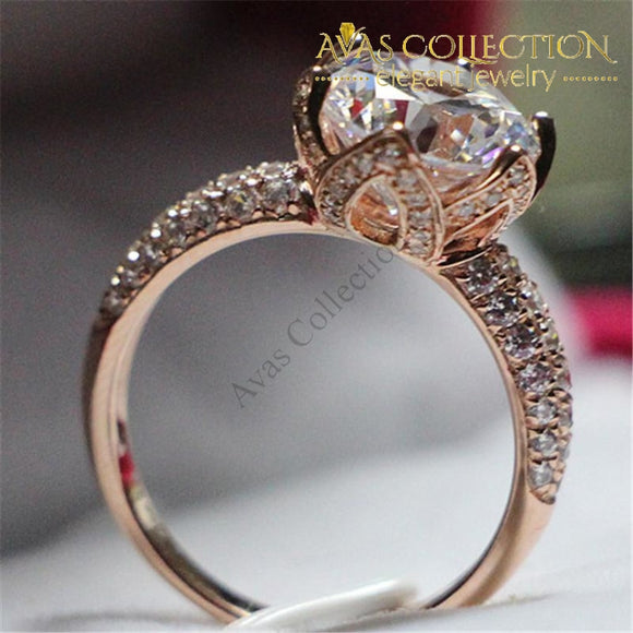 4Ct Brilliant Flower Round Cut Synthetic Diamonds Ring - Avas Collection