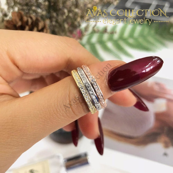 Solid 925 Sterling Silver Band Ring Eternity Finger Three Colors Wedding Bands