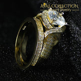 14K Yellow Gold Filled Luxury Wedding Ring Set Simulated Diamonds Rings