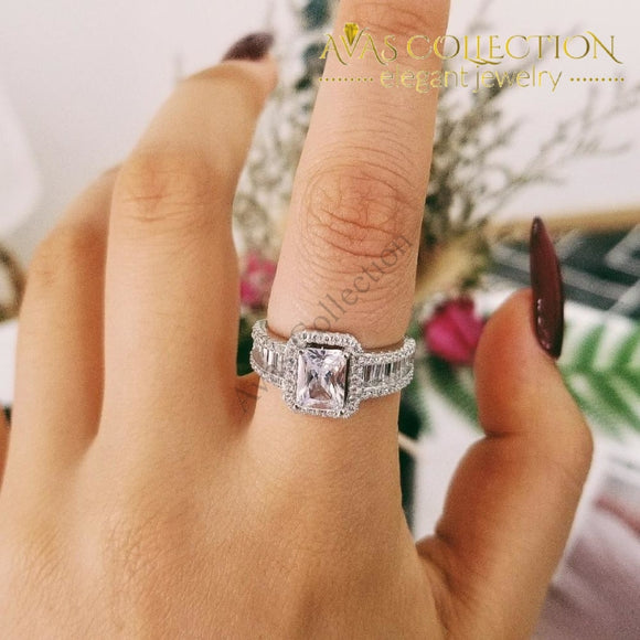 Princess Cut Solid Original Latest Design  925 Sterling Silver Engagement Ring - Avas Collection