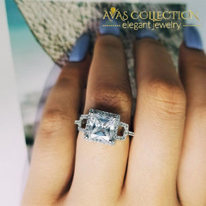 Solid Real 925 Sterling Silver Delicate Cocktail Ring Engagement Rings