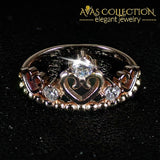 Solid Real 925 Sterling Silver Ring Crown Rose Gold/ Promise RIng - Avas Collection