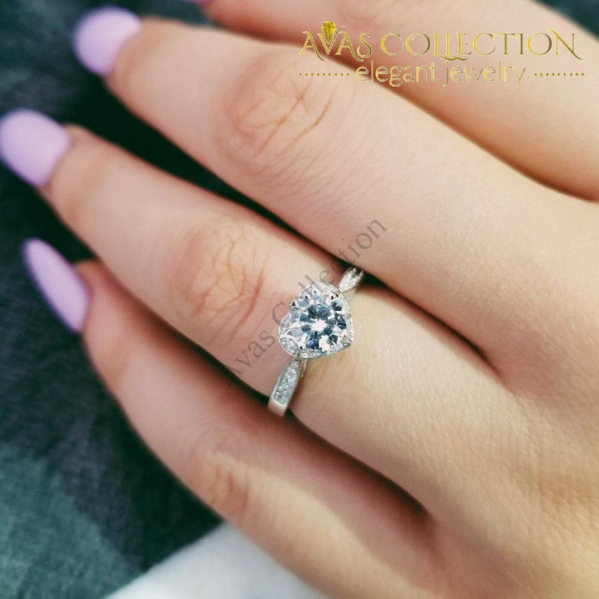 249ead5d6bd22 Harper / Solid Real 925 Sterling Silver Ring Heart Shaped Engagement Ring  Promise Ring/ Simulated Diamonds