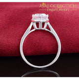 Solid Real 925 Sterling Silver Ring Heart Shaped Engagement Promise Ring/ Simulated Diamonds Rings